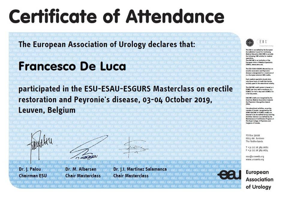 Certificato ESU-ESAU-ESGURS Masterclass on erectile restoration and Peyronie's disease